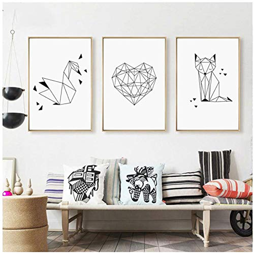 Mur Art Toile Peintures Noir Blanc Abstrait Ligne Coeur Renard Cygne Photos Impressions Décor À La Maison Affiche Pour Salon-30x40 cm x 3 Sans Cadre