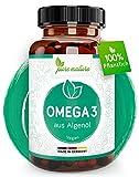 Pure Nature OMEGA 3 VEGAN -Essentielle Fettsäuren DHA & EPA - 1668mg Omega 3 pro Tagesdosis aus reinem Algenöl - 1 Monat Vorrat rein pflanzlich & hochdosiert