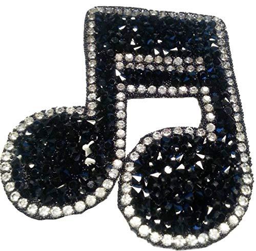 Aufnäher Iron on Patches für Jacken Jeans Kleidung Aufbügler Applikation Stickerei Musik Noten-schlüssel Schwarz mit Strass 7 x 5,8 cm ()
