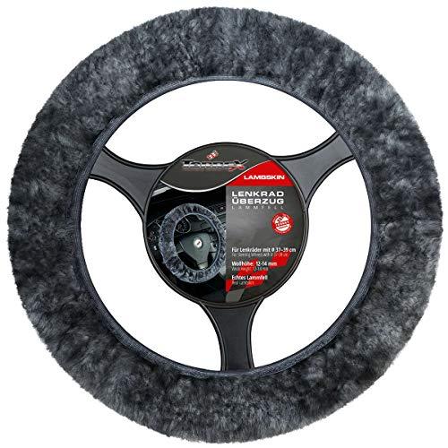 Torrex® Lenkradbezug aus 100% Lammfell für Lenkräder mit Durchmesser Ø 37-39 Lenkradabdeckung Lenkradschoner (Farbe Anthrazit)