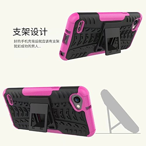 YHUISEN LG Q6 Case, Hyun Pattern Dual Layer Hybrid Armor Kickstand 2 in 1 Shockproof Gehäuse Cover Fo LG Q6 / LG Q6 Plus / LG Q6 Alpha ( Color : Red ) Pink