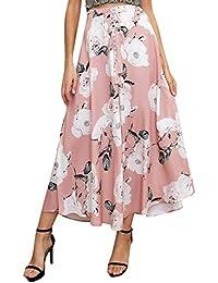 3d60fdfd8627c8 Missy Chilli Damen Lang Röcke Sommer Elegant Blumen Chiffon High Waist Boho  Maxi Beach Skirt Röcke