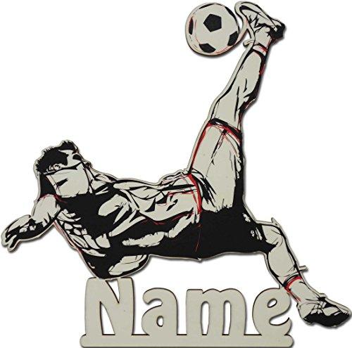 Fussball Fußball Geschenke für Männer Fußballtrainer Fußballer Junge Holz Schild mit Namen personalisiert