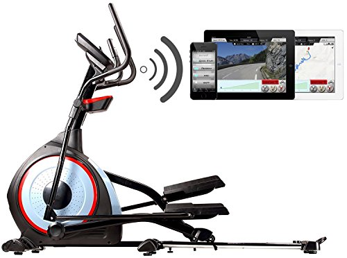 BODYCOACH Profi Crosstrainer Frontantrieb Ellipsentrainer - Elliptical 28280BG Bluetooth + Fitness-App, MAPS Laufrouten I Pulsgurt USB MP3 Q Faktor 7,8 cm Schwungmasse ca 15 kg