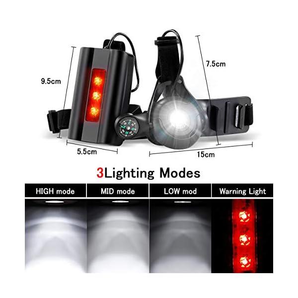 SGODDE Running Light Ricaricabile USB, Luce Corsa 3 Modi 500 LM Impermeabile con Bussola per GoPro, Leggero, Comodo e… 3 spesavip
