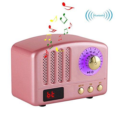 Retro Bluetooth Lautsprecher-HIFI Stereo Bluetooth 4.2 Desktop FM Radio mit Super Bass und Subwoofer Unterstützung TF-Karte / Micro SD-Karte und USB-Eingang für IPhone, IPad, Samsung, Tablet Etc (All Multifunktions-maschine In One)
