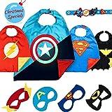 LAEGENDARY Disfraz De Superhéroes para Niño - Regalos De Cumpleaños para Niña - 4 Capas Y Máscaras - Juguetes para Niños Y Niñas - Logo Brillante de Captain America