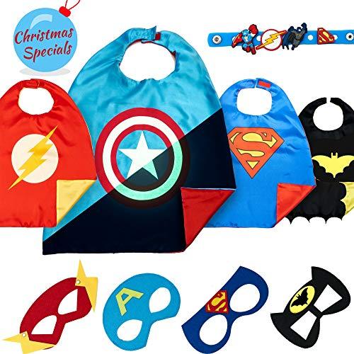 LAEGENDARY Superhelden Kostüm Für Kinder – Kleinkind Superhelden Party Outfit - Spielzeug Für Jungen Und Mädchen - 4 Capes Und Maske – Im Dunkeln Leuchtendes Spiderman Logo (Captain ()