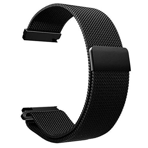 JSDDE Uhrenarmbänder Edelstahl Mesh Milanese Uhrenarmband Magnet Uhrenband Metallarmband Watch Band (Schwarz 20mm)