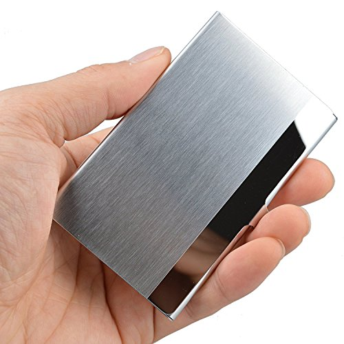 VIPITH Super Light Business Card Holder Professional Stainless Steel Business Name Card Case Keep Business Cards in Immaculate Condition Slim Design for Men and Women, for Travel and Work, Silver
