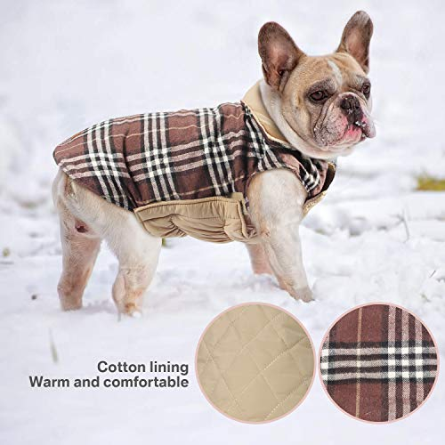 Haustier Hund Plaid Jacke Hoodie Mantel Pullover Schneefest Kleidung Herbst Winter Kleidung Warm Gepolsterte Wendeauflage Apparel Weste Kleidung Hunde mantel Brustschutz für Hunde (L,Braun) - 3