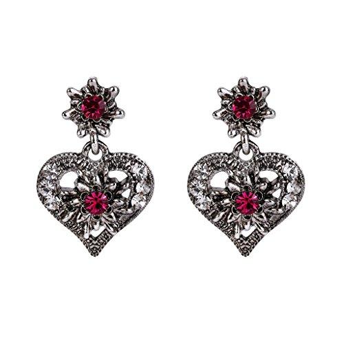 Clearine Damen Oktoberfest Trachtenscmuck Künstliche Perlen Kristall Trachten Herz Ohrringe zu Dirndl und (Vintage Ohrringe Trachten)