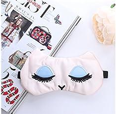 Blueqier Conveniente Sonno respirabile Maschera per gli occhi di sonno Ciglia grandi Benda (colore casuale) per dormire