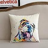 LinZX Regalo della Pittura a Olio Cani Stampato Cuscini Decorativi Cuscini Splendido Paesaggio Animali Domestici Cuscino Divano,English Bulldog