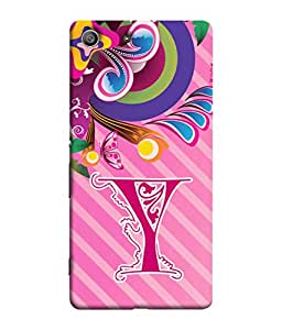 Sony Xperia M5 Dual, Sony Xperia M5 E5633 E5643 E5663 Back Cover Alphabet Y Multicolor Floral Pattern Design From FUSON