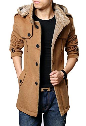 Brinny Herren Casual Mantel Fleece Parka Winter Warme Jacke Trenchcoat mit Kapuze