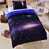 Stillshine 3D Mysteriös Universum Galaxis Bettbezüge Set Bettbezug Bettdecke hülle Bezug Kissen 3 Stück Bettwäsche weiches Stoff Luxus Bettbezug Bettwäsche (173x218cm, Stern)