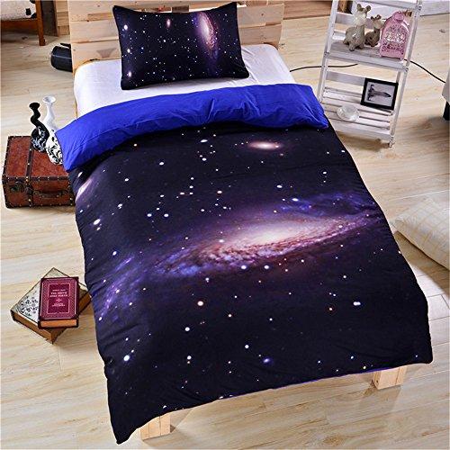 Stillshine 3D Mysteriös Universum Galaxis Bettbezüge Set Bettbezug Bettdecke hülle Bezug Kissen 3 Stück Bettwäsche weiches Stoff Luxus Bettbezug Bettwäsche (173x218cm, Stern) (Luxus Bettwäsche-set Sterne)