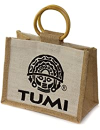 Tumi Jute Small Bag with bamboo handles (set of 10) , perfect for a small gift - Fair trade from India - 22x17x12cm