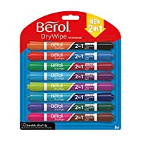 Berol Dry Wipe Dual Ended Chisel Tip Whiteboard Marker, Assorted Colours, Pack of 8