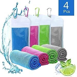 Cooling Towel ,Kühlendes Fitness Handtuch, Selbstkühlendes Handtuch 4 Pcs, Microfaser Handtuch SportFür Heißes Wetter…
