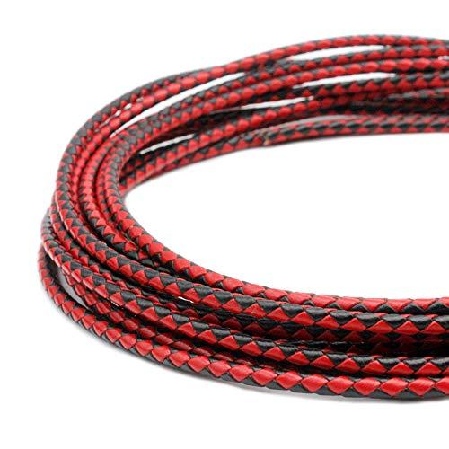 Cuerda de bolo de piel redonda de 4,0 mm, cuerda para hacer joyas, cuerdas de cuero, pulsera, componente