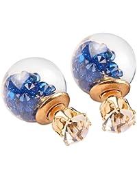 Pendientes de cristal del Rhinestone de la bola de moda Pendientes esféricos de doble cara
