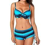 Jaminy Damen Set Push Up Swimsuits Strand Badeanzug Badebekleidung Bademode Push Up Bikini Bademode Zweiteiler Strand Swimwear Badeanzug Swimsuits Beachwear Tankini Bikini (Blau, XL)