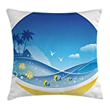 BUZRL Tropical Animals Throw Pillow Cushion Cover, Exotic Sea Waves in Fauna Frame with Gulls and Coconut Trees Journey, Decorative Square Accent Pillow Case, 18 X 18 Inches, Blue Yellow