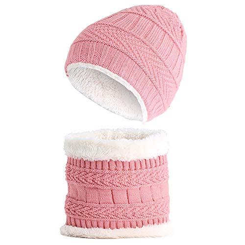 Dicke Mütze Hut Schal Set Mädchen Jungen Strickmütze & Kreis Schal Halswärmer Anzug chlauchschal Beanie Mütze Ohren Cap für 2-8 Jahre ()