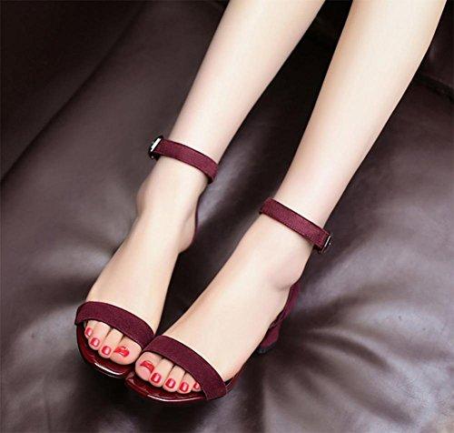 Im Frühjahr und Sommer Schuhe starke Ferse Sandalen matte Wort mit quadratischem Kopf offener Spitze Sandalen red wine