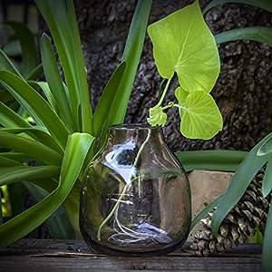Glasmanufaktur Mitienda, Vase, 15 cm, Glas, lila, Dekovase Gota lila, Blumenvase 15cm, mundgeblasene Vase mit Bauch aus Mexiko, Glas-Recycling