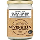 Sevenhills Wholefoods 500ml Organic Extra Virgin Raw Coconut Oil (Cold-Pressed), Glass Jar, for Cooking, Baking, Skin…