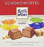 RITTER SPORT Schokowürfel Vielfalt (4 x 176 g), Schokolade in 4 Sorten, Voll-Nuss in Nugatcreme, Schoko Crisp, Karamell und Edelnugat, Schokoladenbox