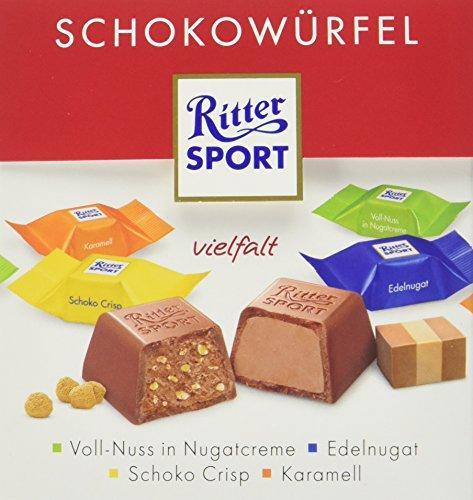 (RITTER SPORT Schokowürfel Vielfalt (4 x 176 g), Schokolade in 4 Sorten, Voll-Nuss in Nugatcreme, Schoko Crisp, Karamell und Edelnugat, Schokoladenbox)