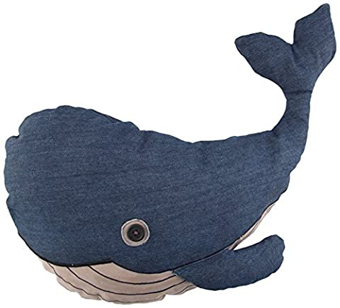 Sass Belle &coton Bleu Coussin géant en forme de baleine
