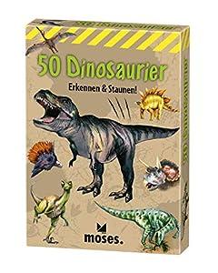 Moses. 40212Expedition Natural de 50Tarjetas de Dinosaurios | determinación en Juego, con Emocionantes Quiz Preguntas, Multicolor