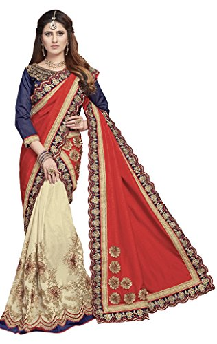 S. Kiran's Women's Designer Biege Mekhela Red Chador - Assamese Mekhla Sador Joda