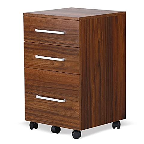 DEVAISE Mobile Wood Filing Cabinet with 3 Drawer for A4 Size, Walnut