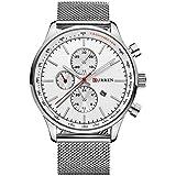 CURREN Orologio da uomo al quarzo,orologio da polso in acciaio inossidabile da lavoro impermeabile, casual 3TAM,orologio anal