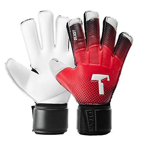 T1TAN Red Beast Junior Torwarthandschuhe mit Fingerschutz - Fußballhandschuhe Kinder mit Protektion - Handschuhe für Kids Gr. 4 Junior-handschuhe