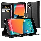 Cadorabo Custodia Libro per Motorola Nexus 5 in Nero Carbone - con Vani di Carte, Funzione Stand e Chiusura Magnetica - Portafoglio Cover Case Wallet Book Etui Protezione