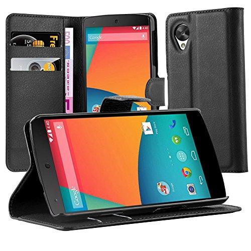 Cadorabo Carcasa para Motorola Nexus 5Funda en Phantom Negro Funda con Tarjetero Y Función Atril Case Cover Carcasa Funda Book Style Phantom de Negro