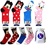 Disney Charakter Mannschafts Socken mit Beutel Packung mit 3 Paaren - Mickey Mouse, Minnie Mouse, Donald Duck, Daisy Duck (Mickey Maus, Minnie Maus, Ente Donald, Ente Daisy)