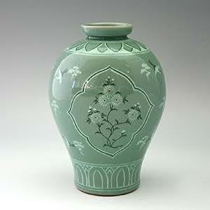 Vase Céladon Corée Grues Chrysanthèmes Fidélité et Loyauté Jarre Vert Goryeo