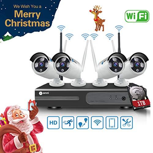 Anni Sistema de Seguridad inalámbrica 1080N 4CH HD NVR Kit, (4) 2.0MP 1080P Cámara CCTV Kit de Seguridad, P2P, Outdoor visión Nocturna de Cámara, no se Necesita Cable de Video, con 1 TB HDD