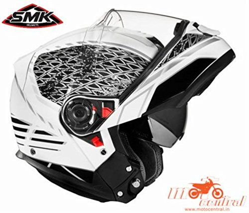SMK Glide Flip Up Designer Helmet , SIGN GL126 , Glossy White With Black , M - 57 Cms , Plain Visor