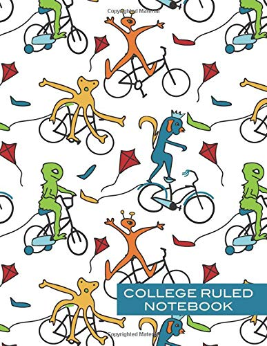 College Ruled Notebook: Monster Notebook Lined Paper Biking Aliens Composition Book