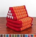 Colchoneta Thai con almohada triangular, 170x53x30 cm, Capok, Naranjo Rojo