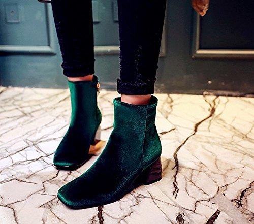 Mee Shoes Damen Vierkant Suede Reißverschluss chunky heels Ankle Boots Grün